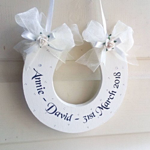 Personalised Wedding Bridal Horseshoe In Ivory